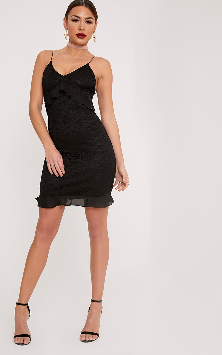 Yazminah Black Lace Frill Detail Bodycon Dress 4