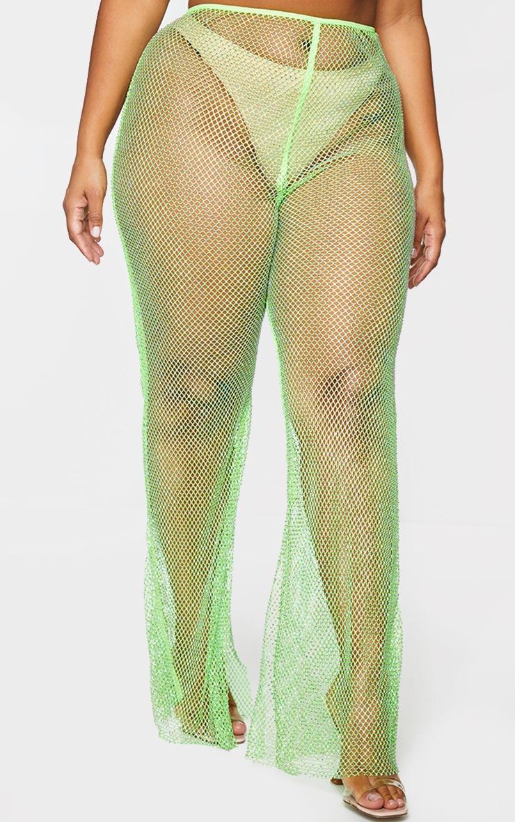 PLT Plus - Pantalon en résille vert citron strassé à ourlet fendu 2