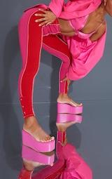 Pink PU Flatform Chunky Mules 2