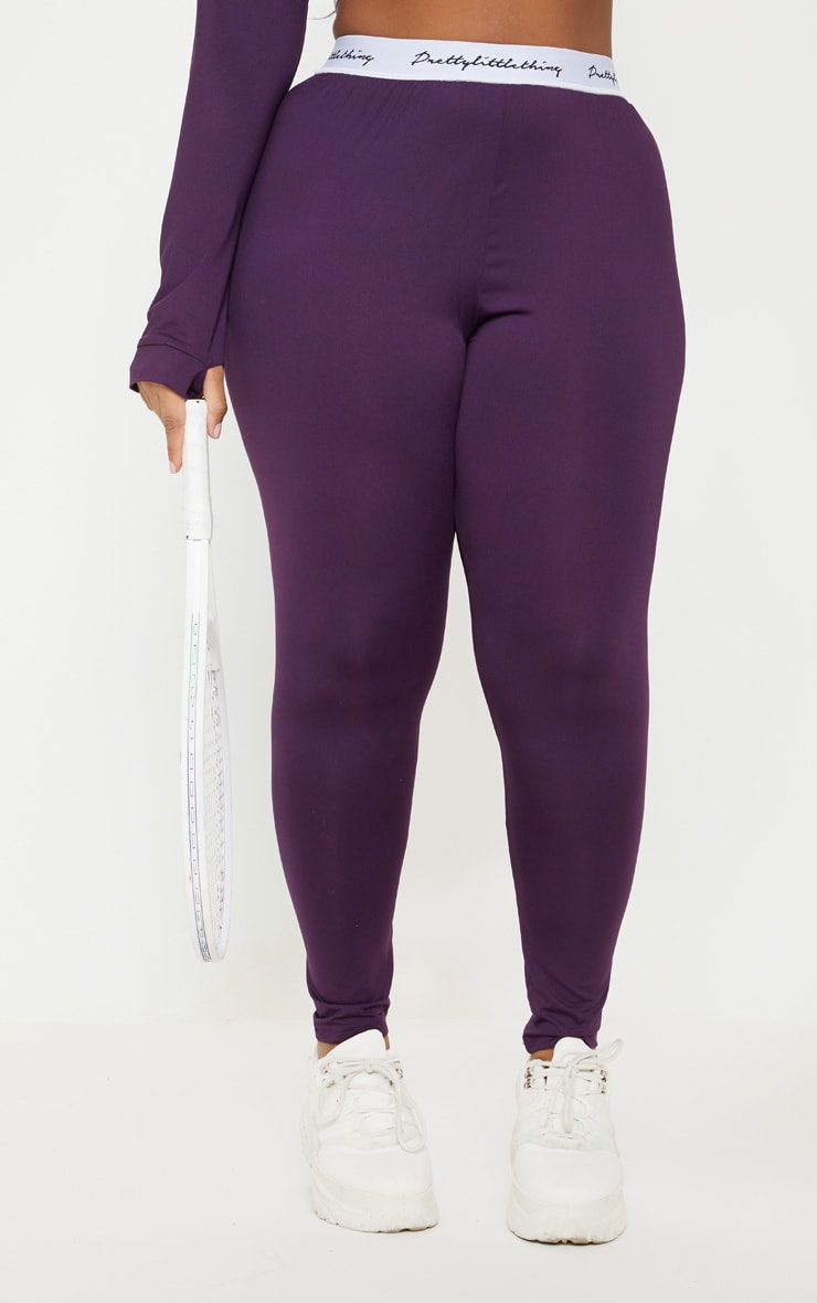 PRETTYLITTLETHING Plus Aubergine Elasticated Band Leggings 2