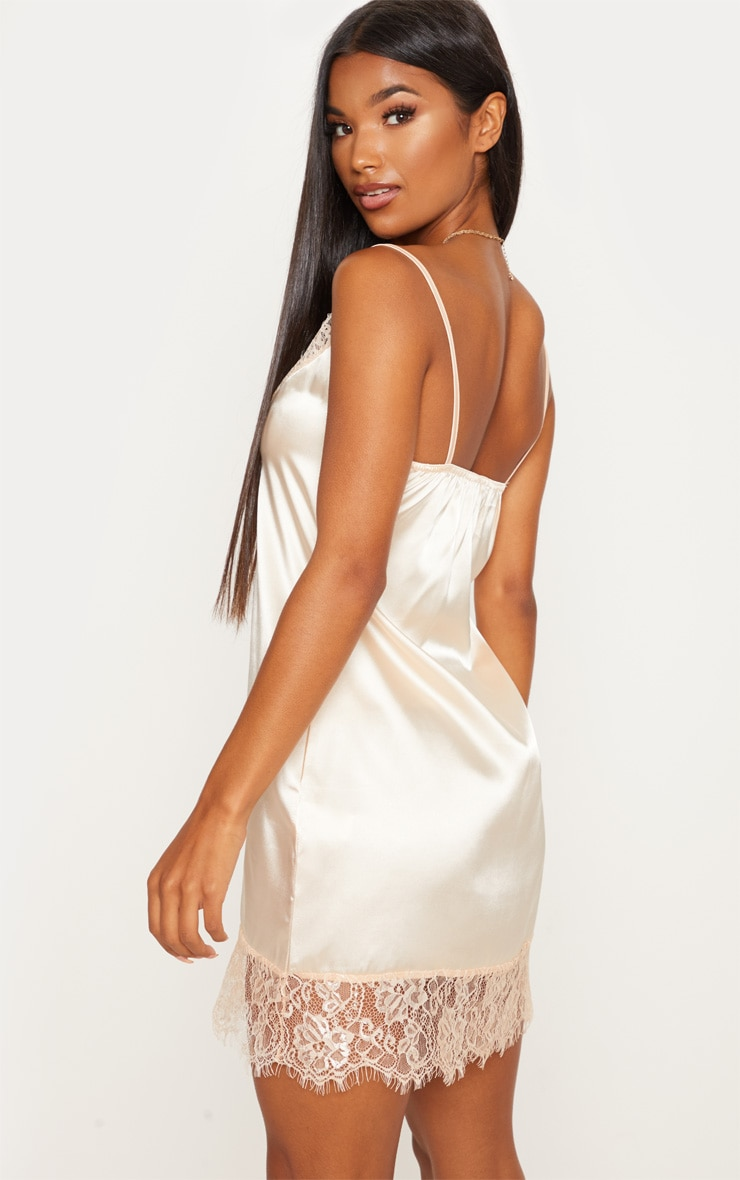Nude Satin Lace Insert Slip Dress  2