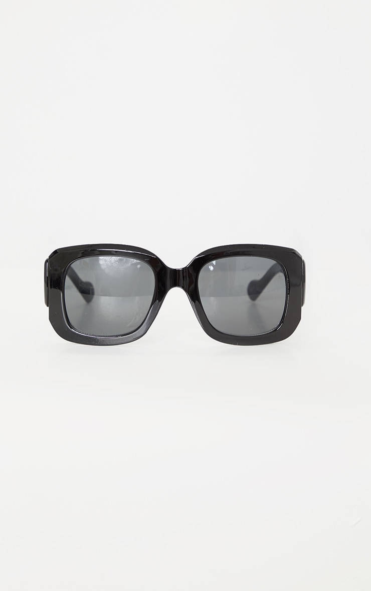 Black Oversized Chunky Squareframe Sunglasses 2