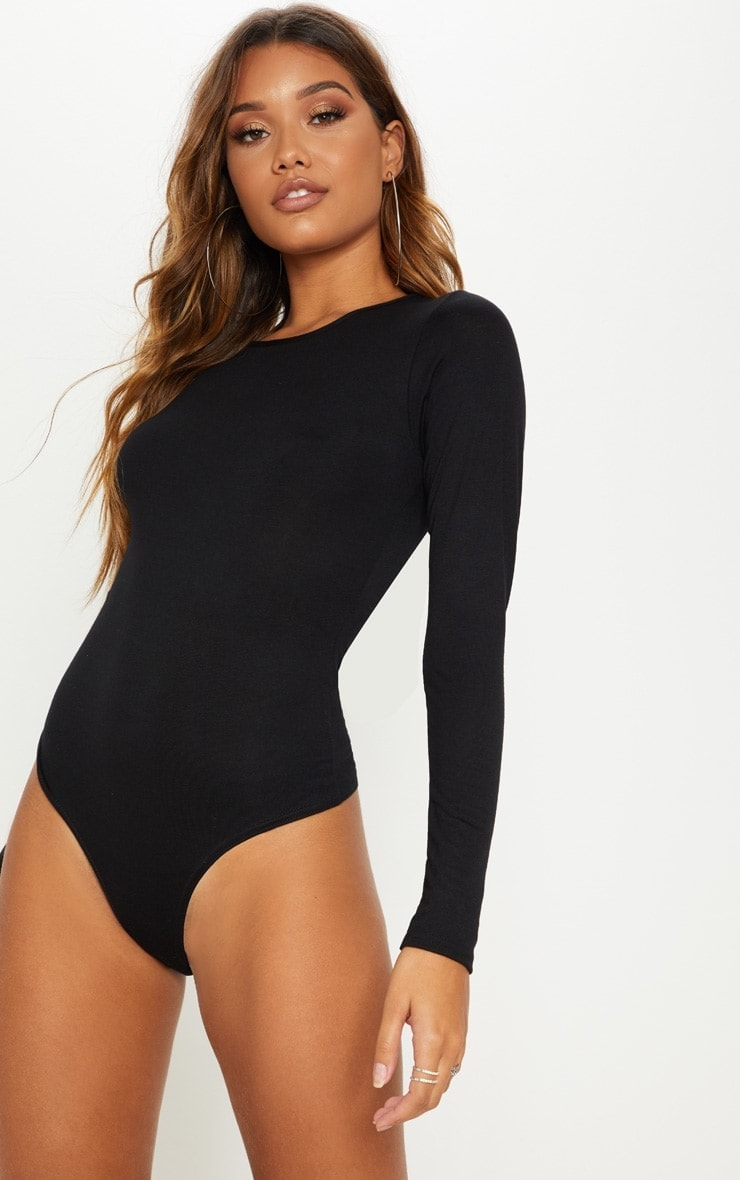 Essential Black Cotton Blend Crew Neck Bodysuit 2