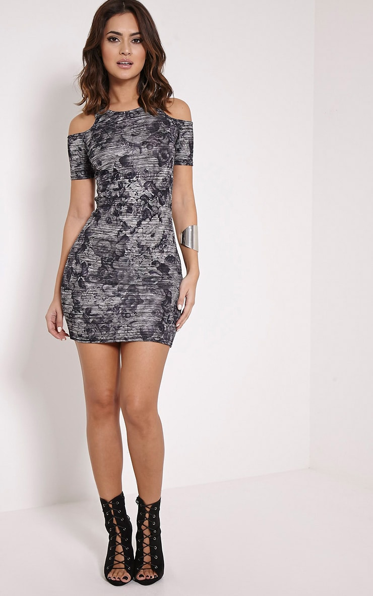 Scarlett Black Cold Shoulder Rose Print Bodycon Dress 3