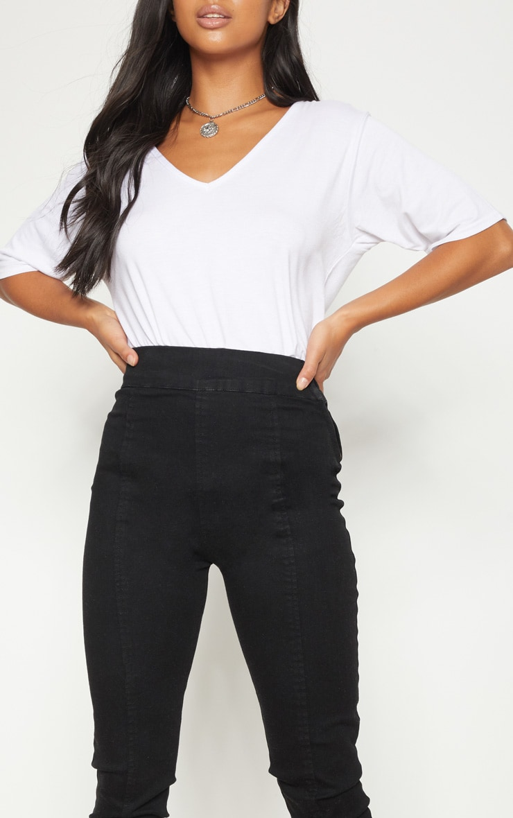 Petite Black Seam Detail Skinny Jeans 5