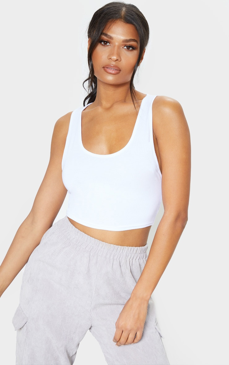 Basic White Scoop Neck Jersey Vest Top 1