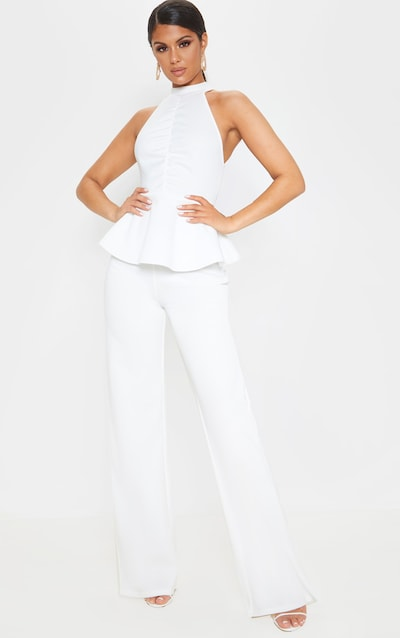 White Ruched Front Open Back Peplum Jumpsuit