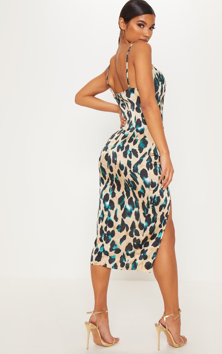 Tan Strappy Satin Leopard Print Cowl Midi Dress 2