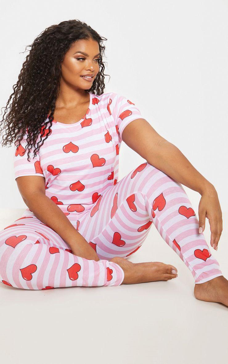 Plus Pink Stripe Heart Print Pj Set 1