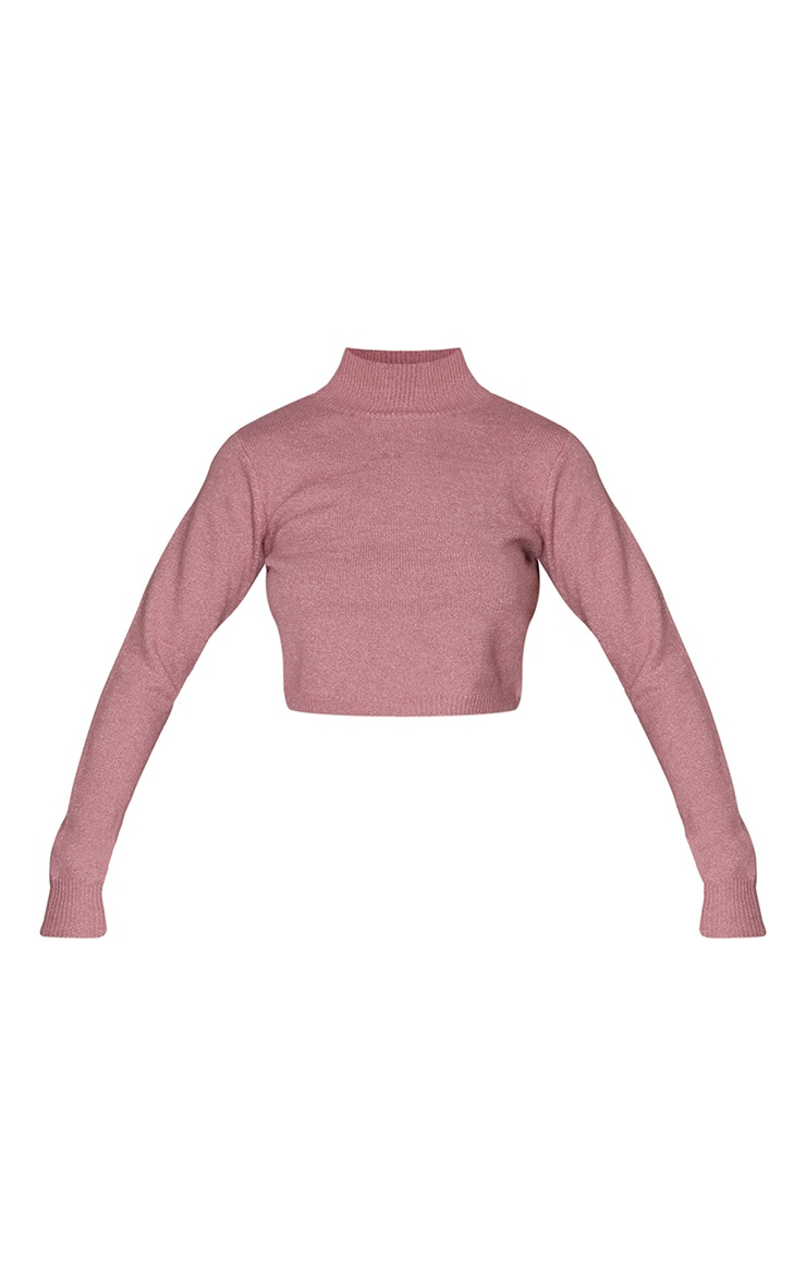 Pink Recycled Funnel Neck Crop Sweater 5