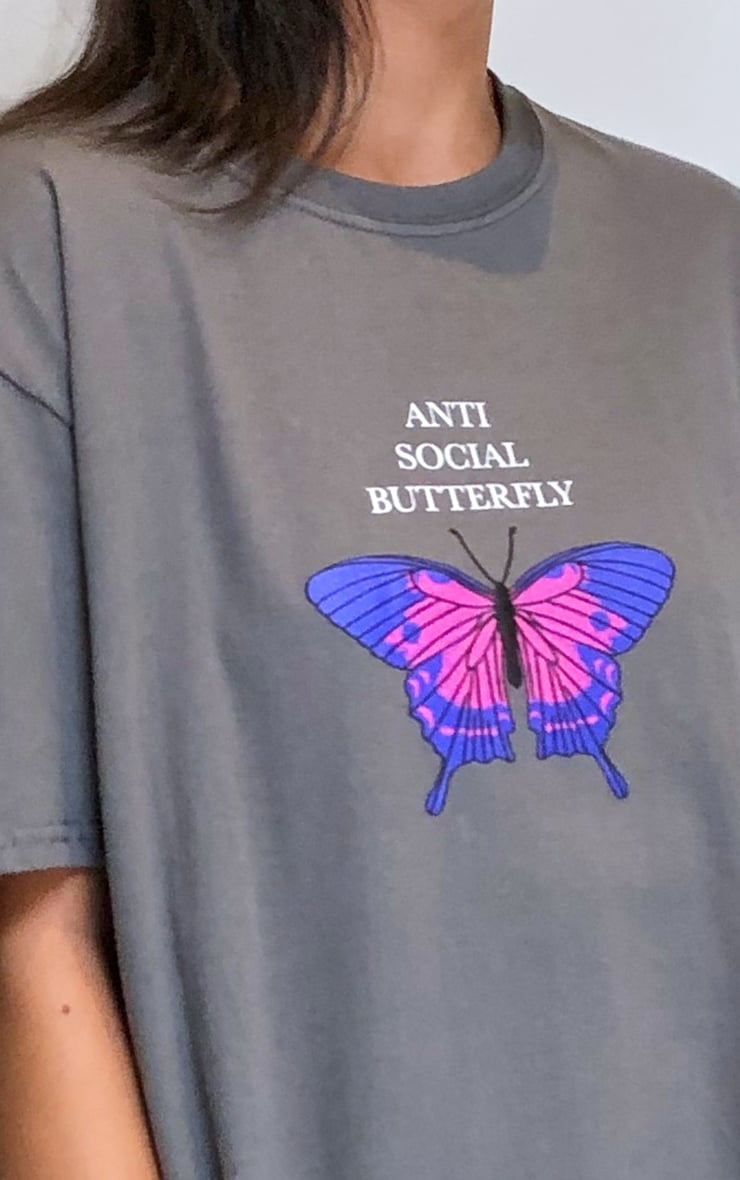 Charcoal Grey Anti Social Butterfly Printed T Shirt 4