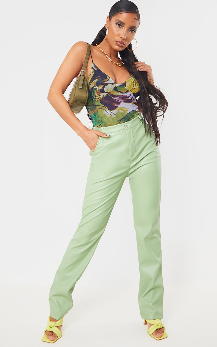 Lime Mesh Abstract Swirl Mesh Cup Detail Bodysuit 3