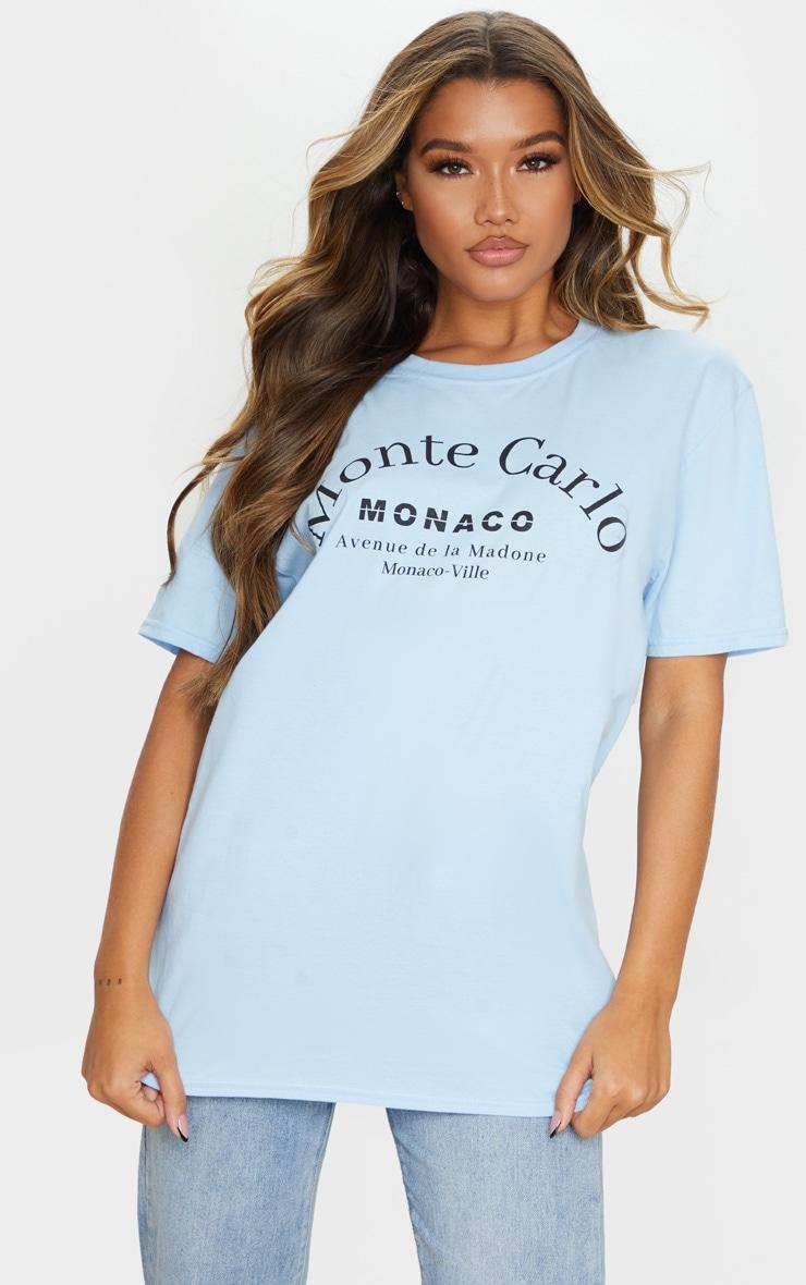 Baby Blue Monte Carlo Slogan T Shirt 3