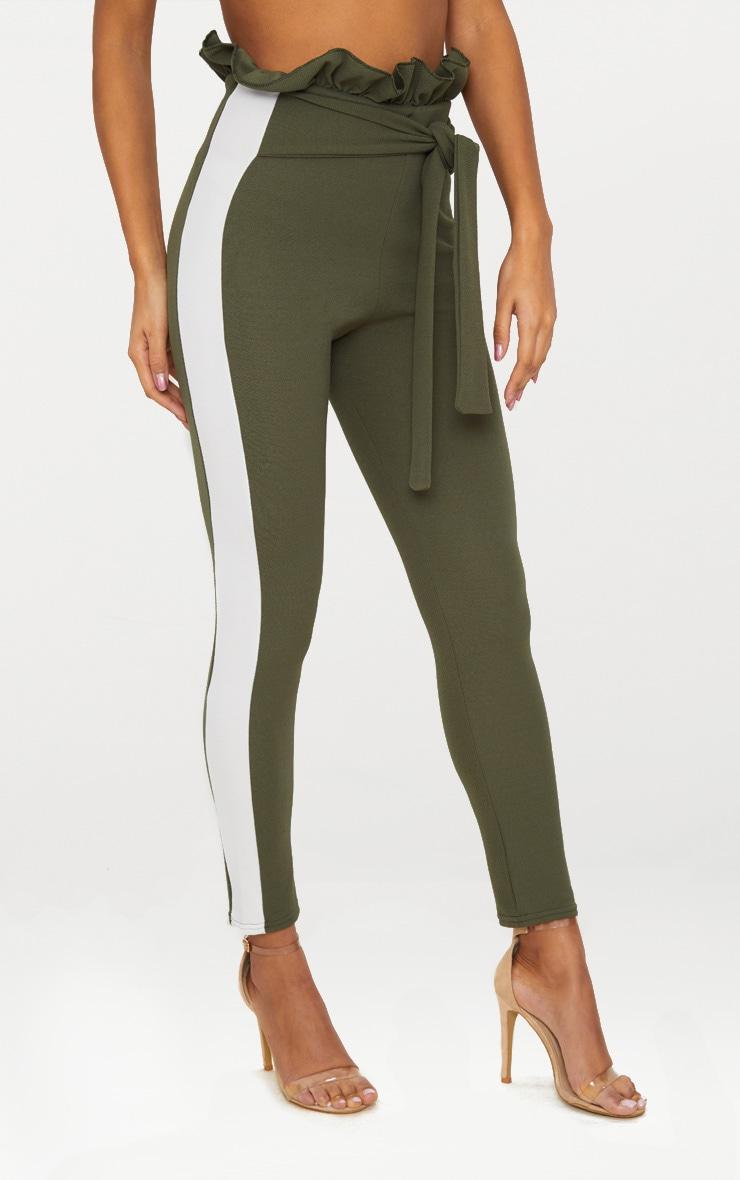 Khaki Side Stripe Paperbag Skinny Trousers 2