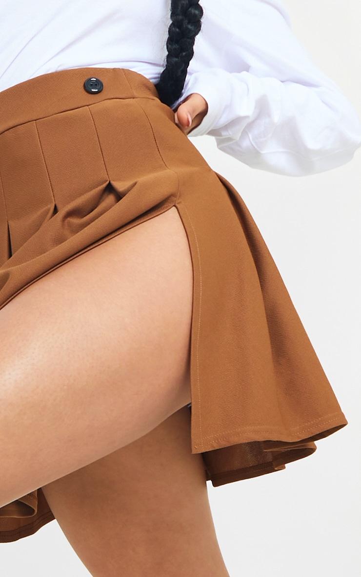 Brown Pleated Side Split Tennis Skirt 5