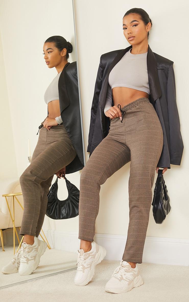 Brown Check Woven Cigarette Trousers 1