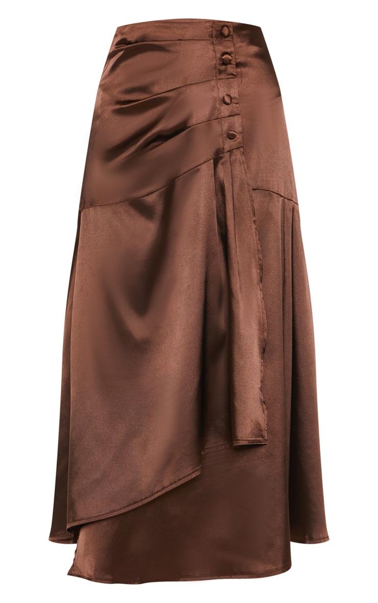 Chocolate Satin Button Waist Midi Skirt 3