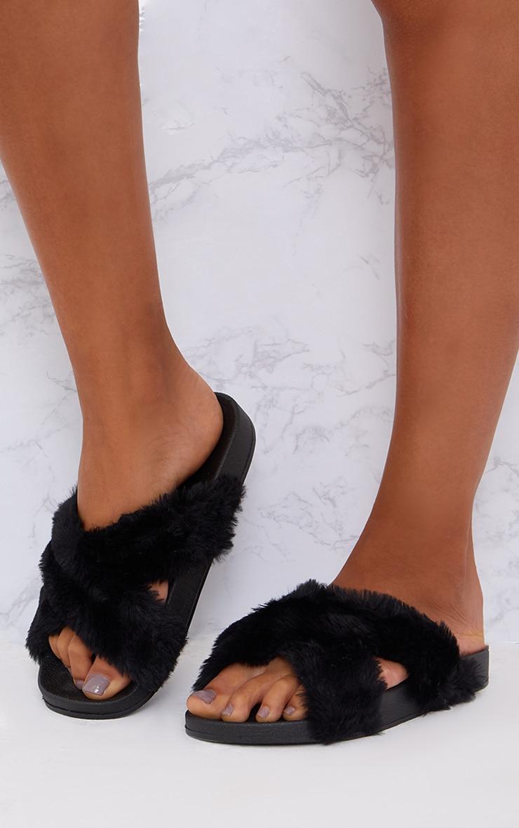 Black Fluffy Cross Strap Sliders 1