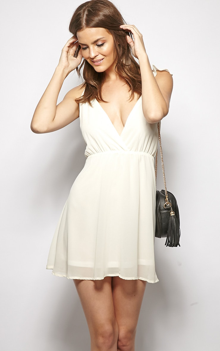 Corinne Cream Chiffon Babydoll Dress 6