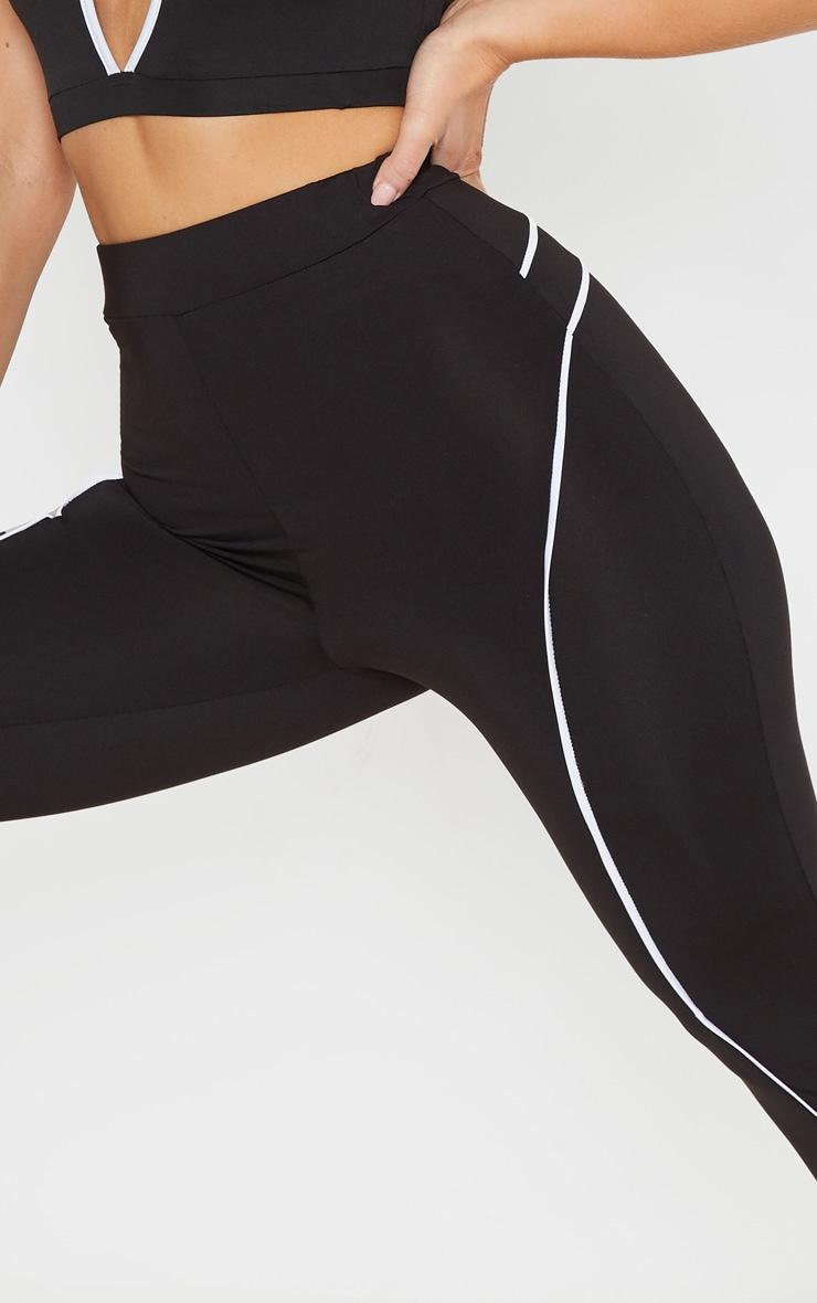 Black Contrast Binding High Waist Gym Legging 5