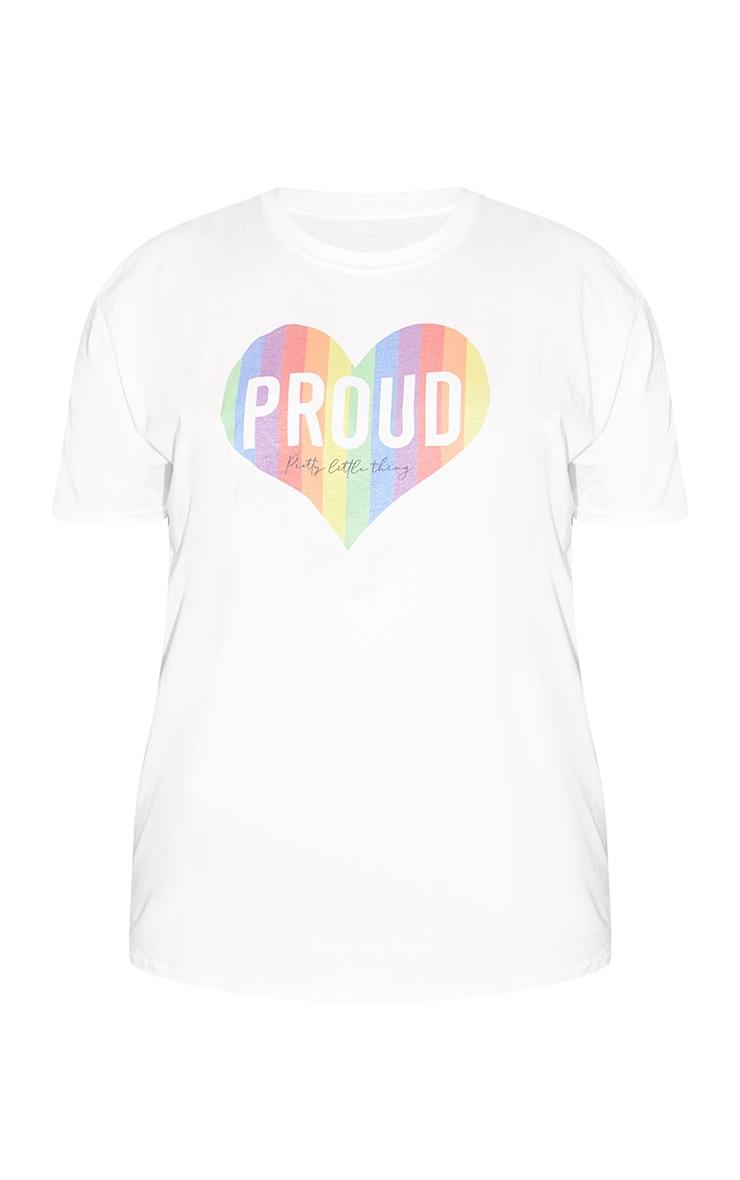 Plus White Slogan Proud Heart T Shirt 5