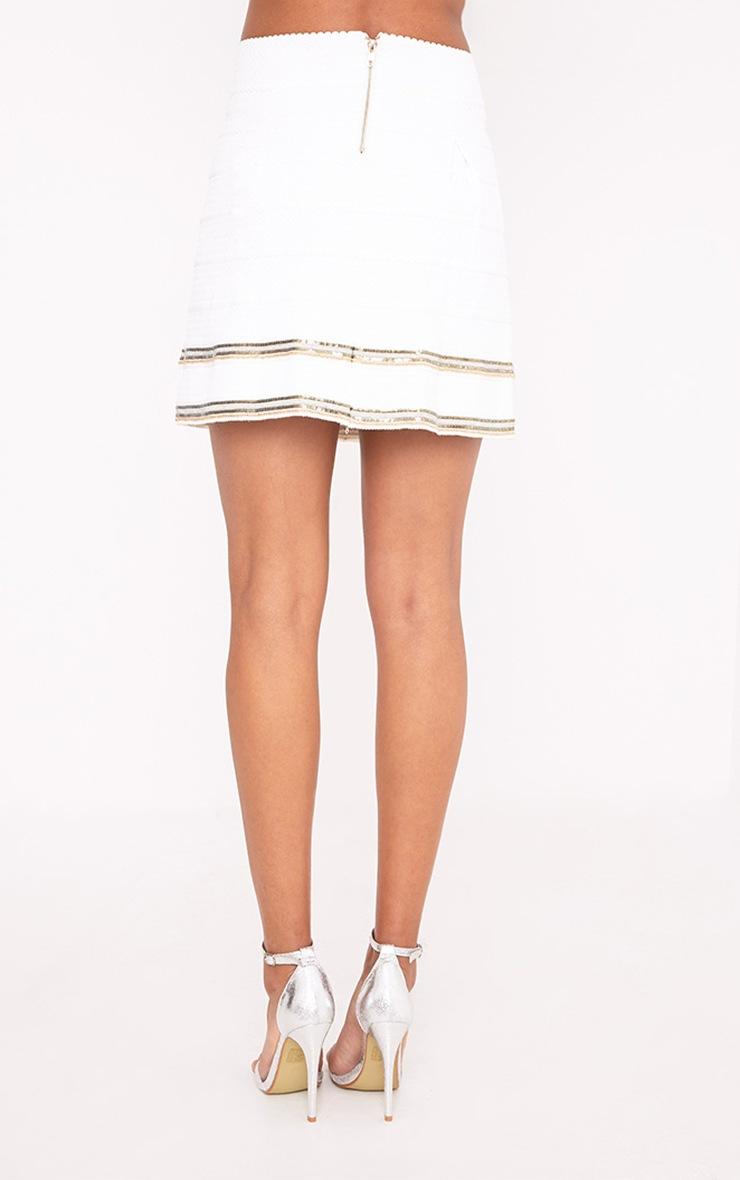 Calvina White Beaded Hem Bandage Skirt  4
