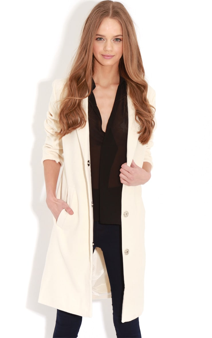 Avril Cream Longlined Boyfriend Coat 5