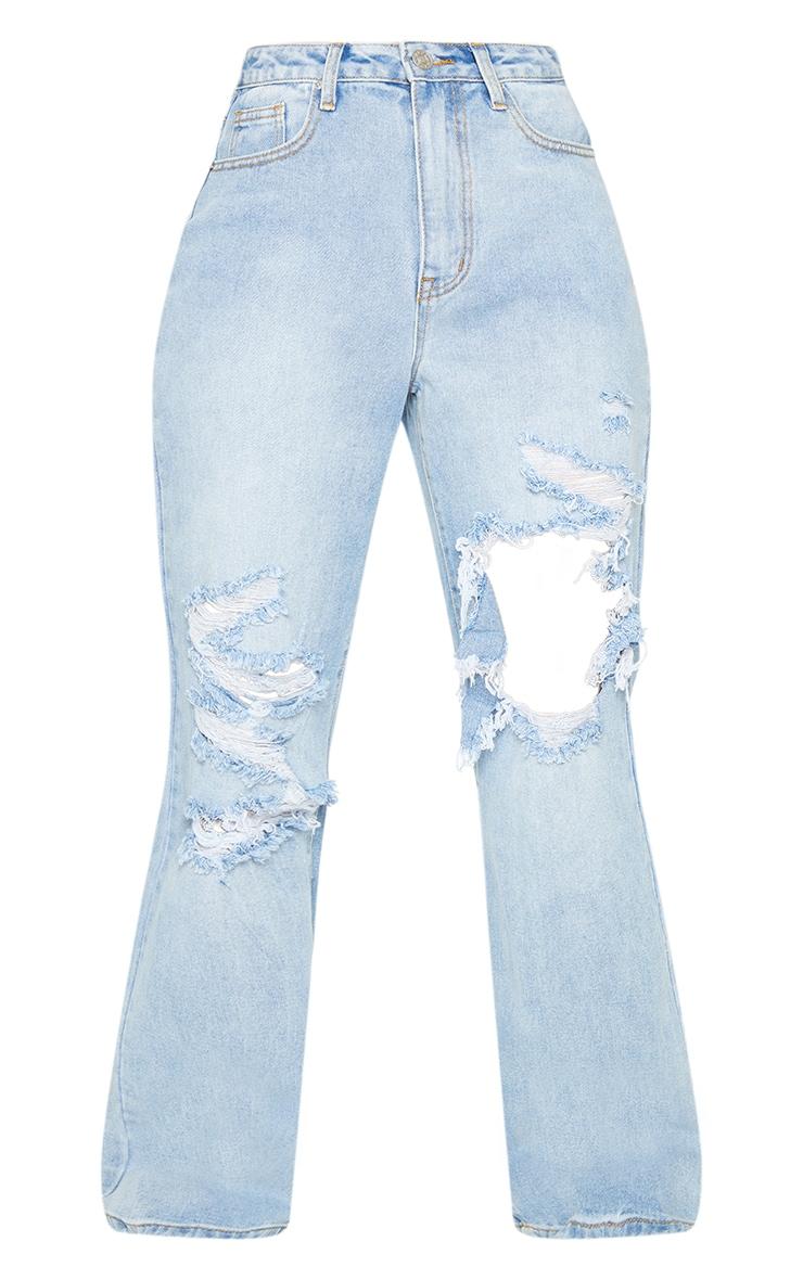 Vintage Wash Open Knee Distressed Boyfriend Jeans 5