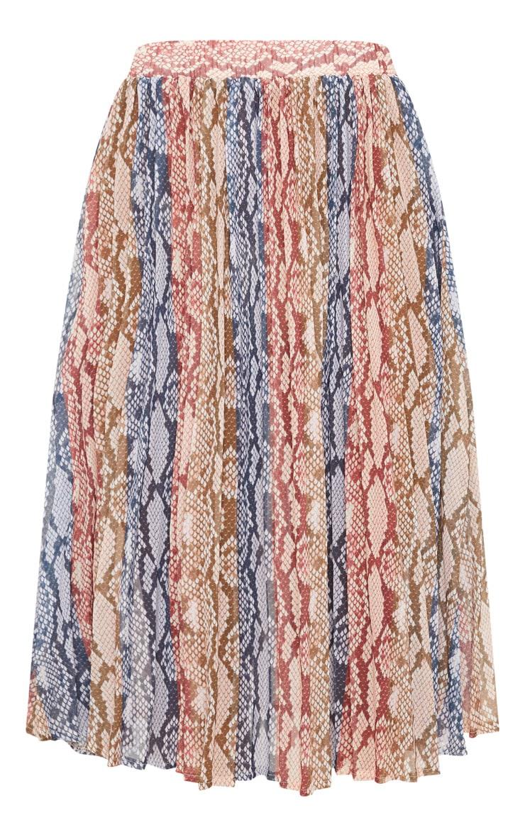 Snake Printed Pleated Midi Skirt 3