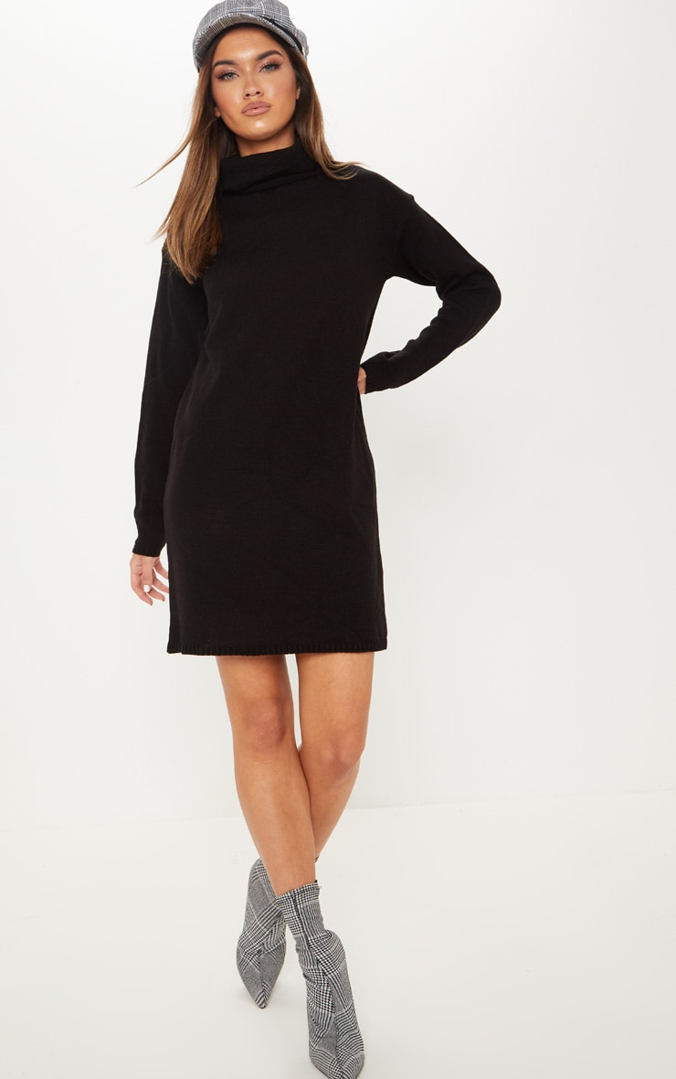 Black High Neck Knitted Jumper Dress 4