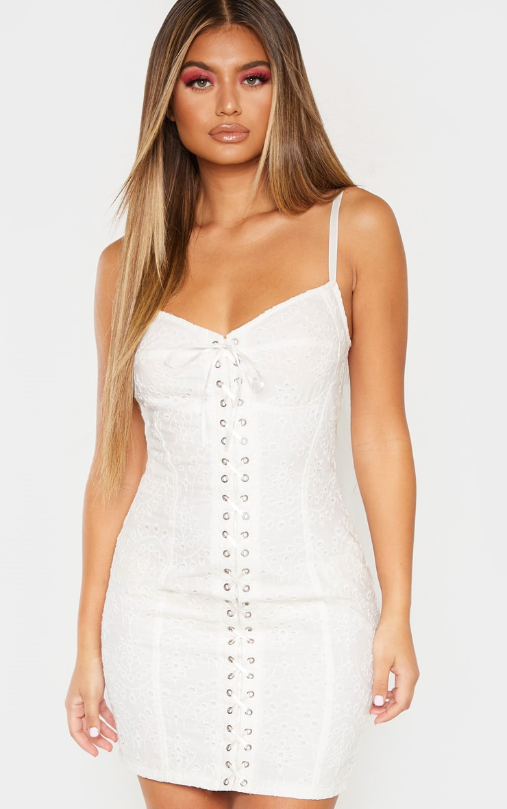 White Broderie Anglaise Lace Up Bodycon Dress 1