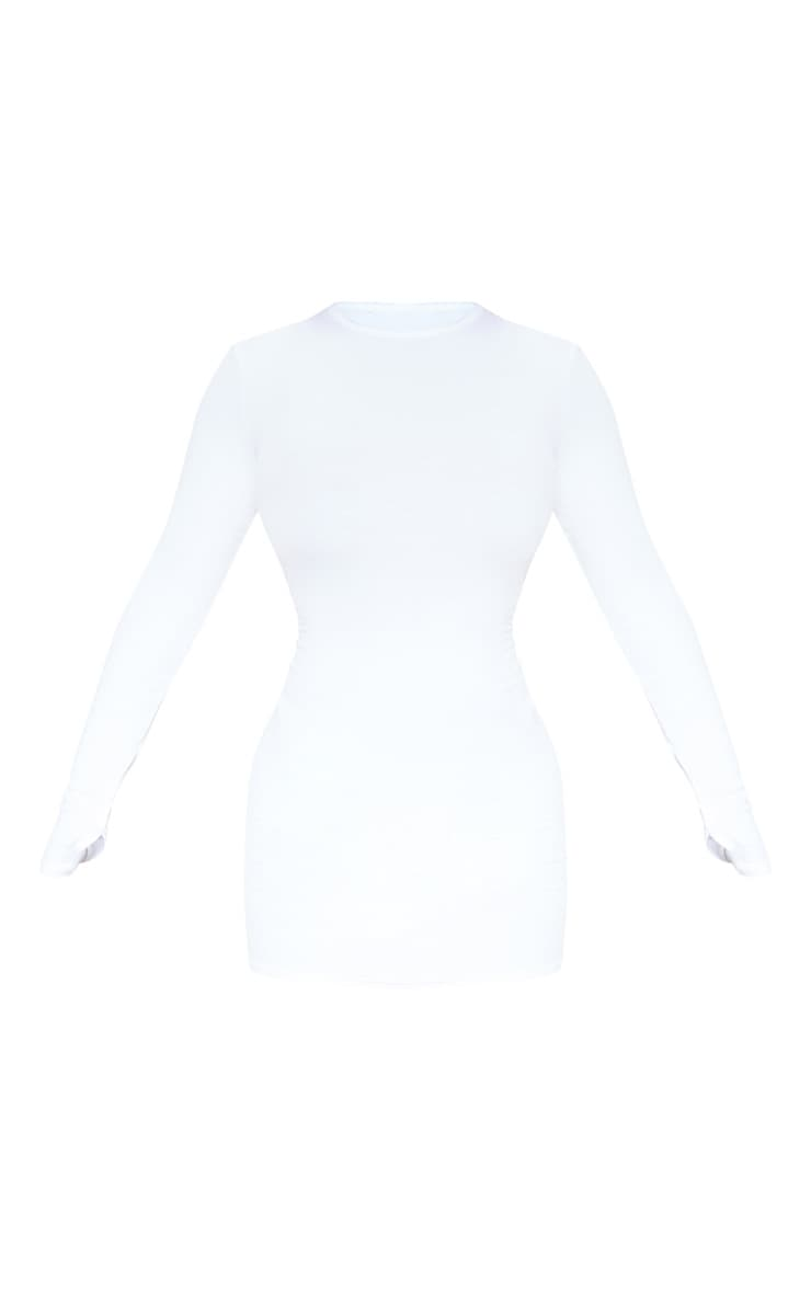 White Long Sleeve Thumb Hole Bodycon Dress 3