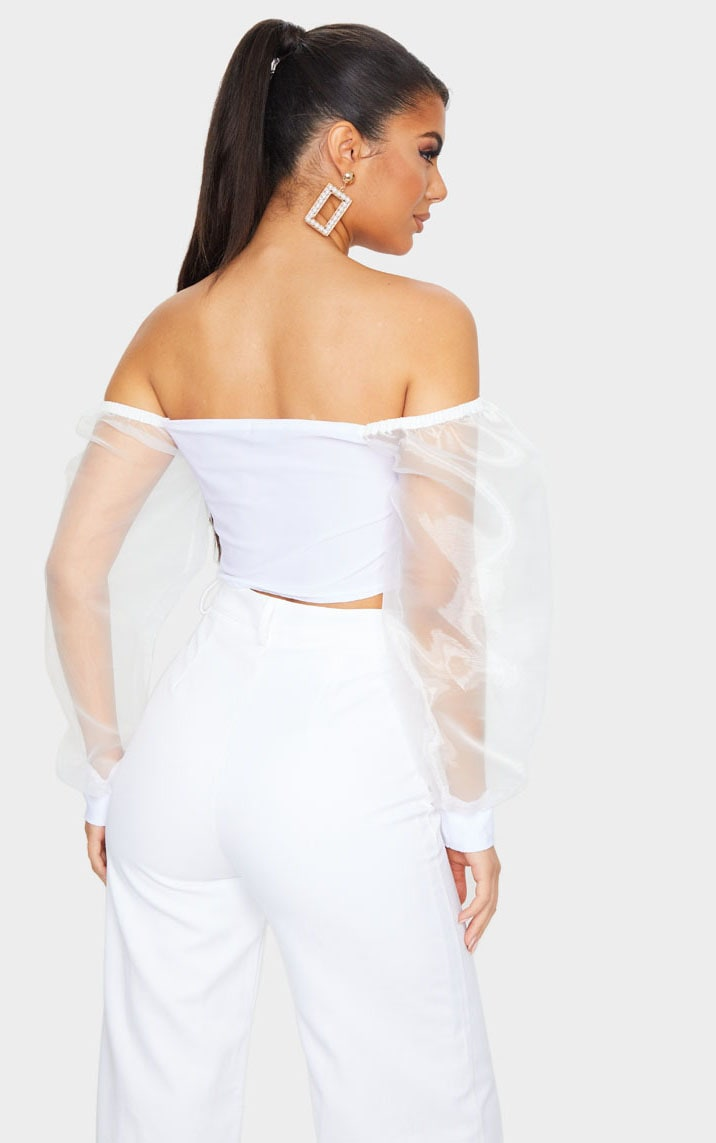 White Slinky Sheer Organza Puff Sleeve Bardot Crop Top 3