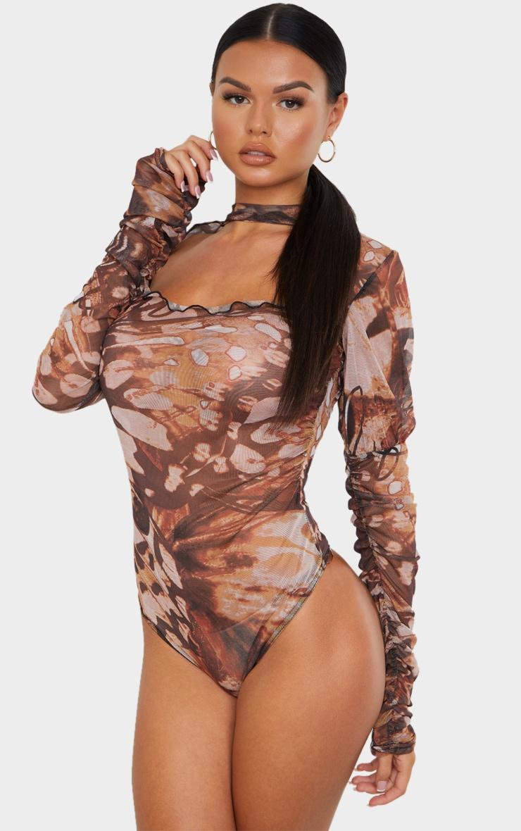 Brown Mesh Butterfly Renaissance Print Cut Out Front Bodysuit 2