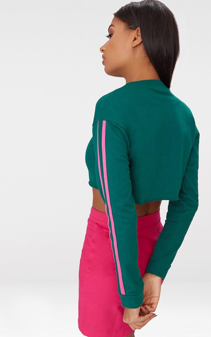 Emerald Green Stripe Sleeve Crop Sweater 2