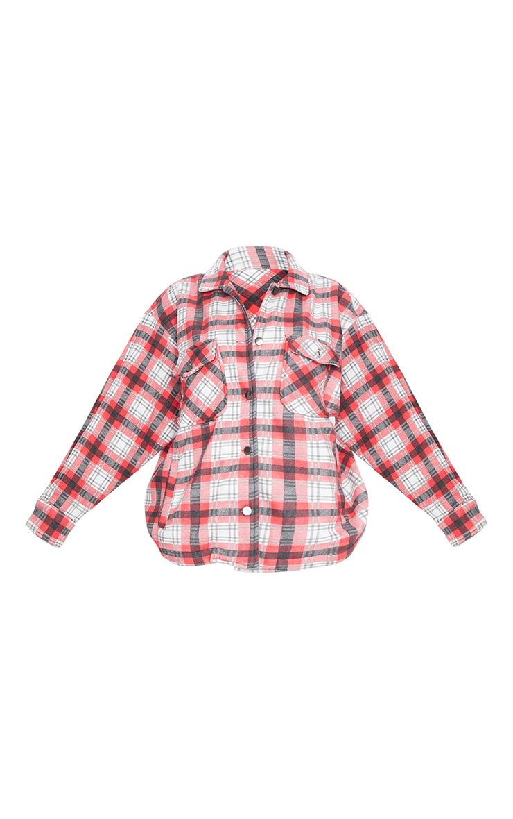 Red Checked Pocket Front Shacket 5