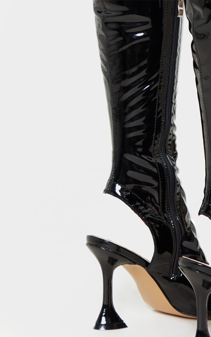 Black Point Toe Cake Stand Thigh High Sock Boot 5
