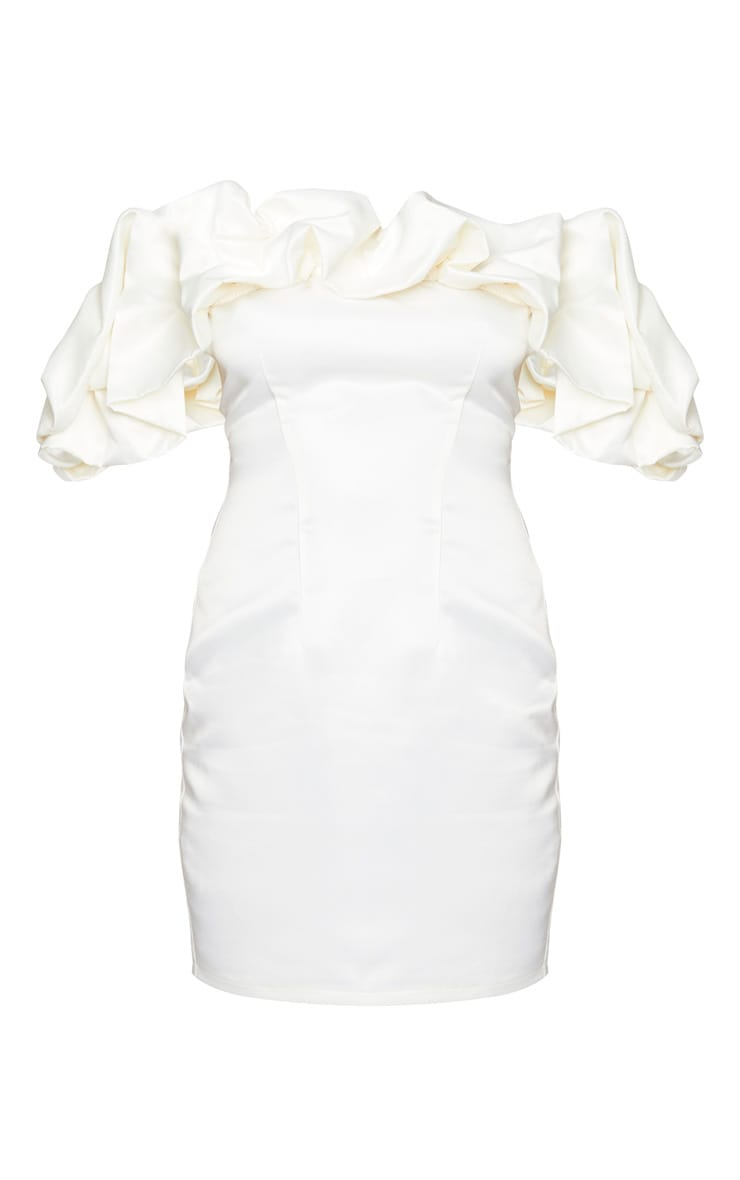 Cream Satin Ruffle Bardot Bodycon Dress 5