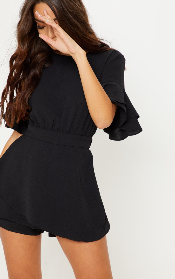 Black Frill Sleeve Tie Back Playsuit 5