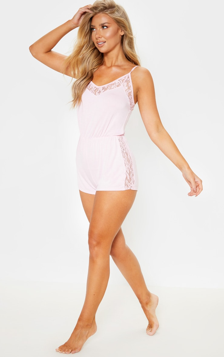 Baby Pink Lace Panel Jersey Teddy 4