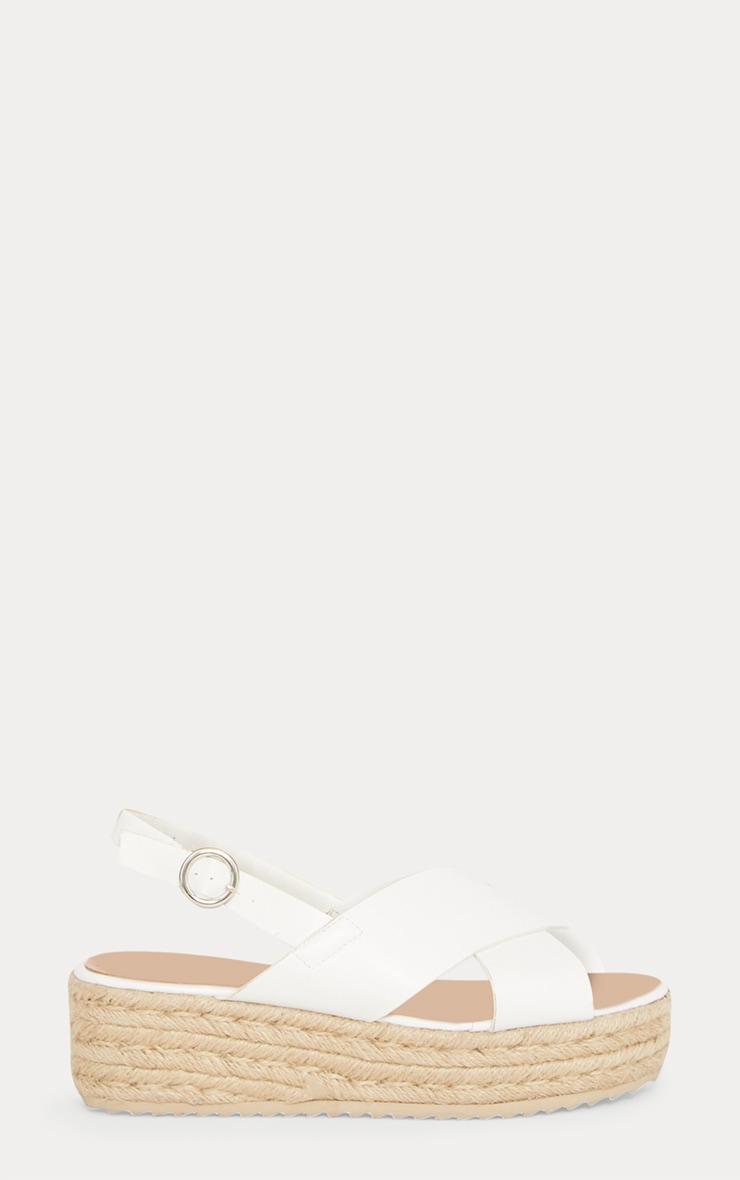 White Cross Strap Flatform Espadrille Sandal 3