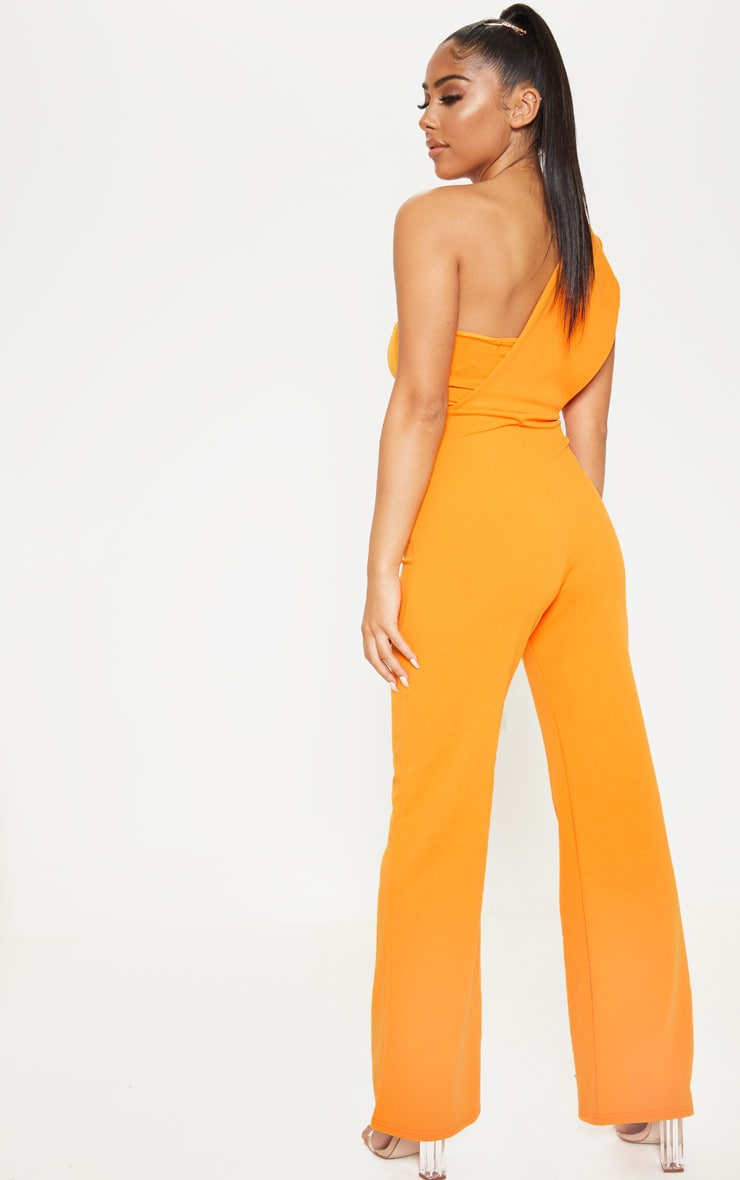 Petite Orange Drape One Shoulder Jumpsuit 2