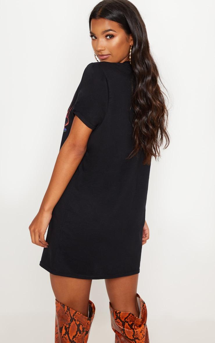 Black Car Slogan Oversized T Shirt Dress 2