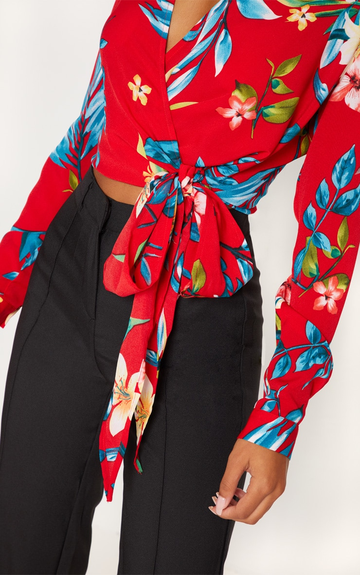 Red Floral Tie Waist Blouse 5