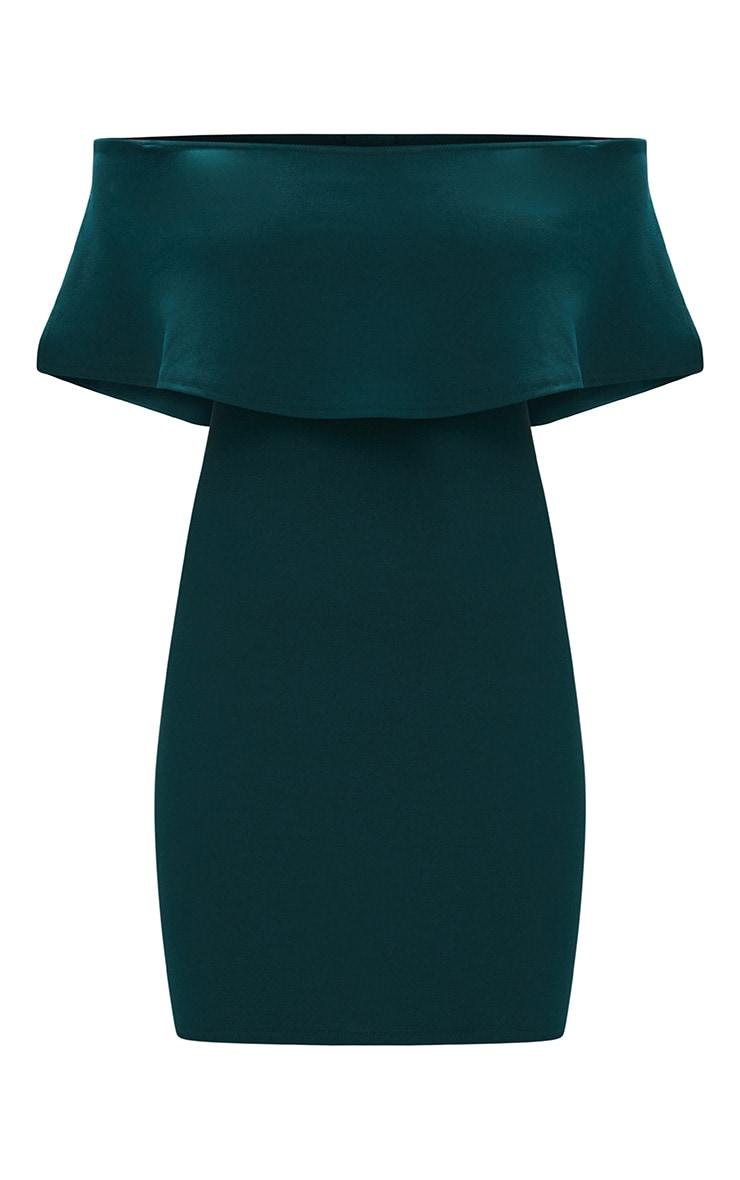 Emerald Green Bardot Frill Bodycon Dress  3