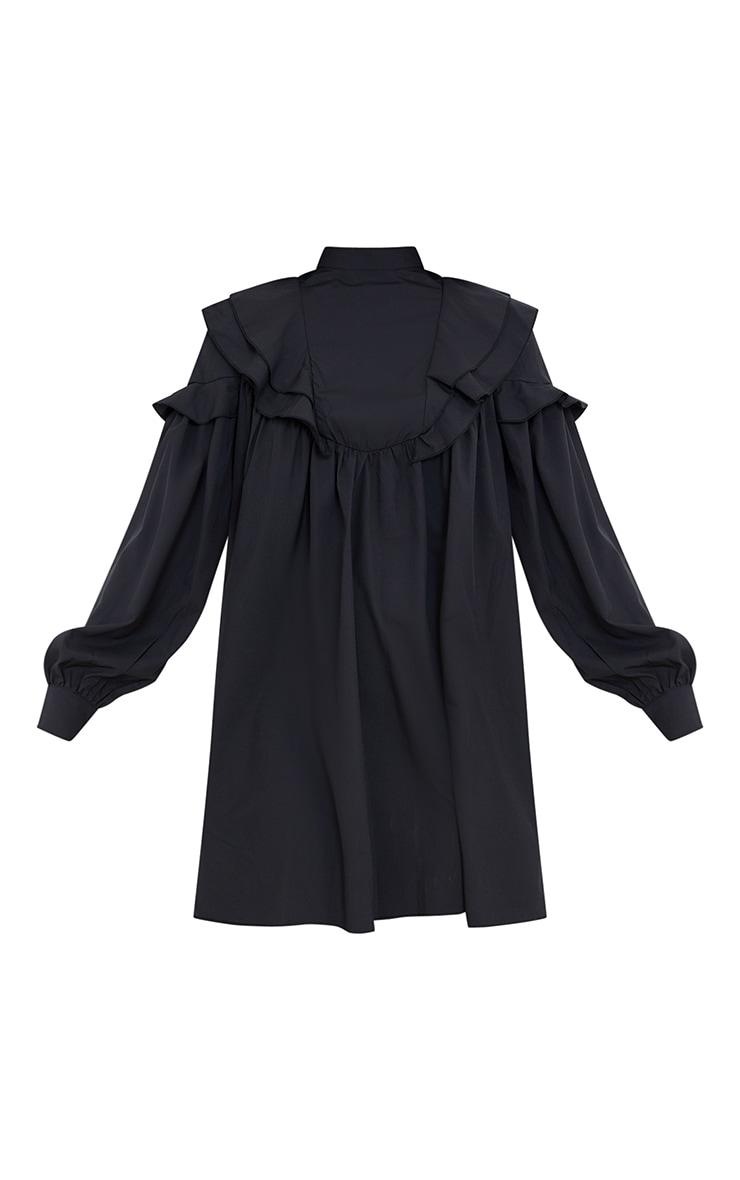 Black Frill Detail High Neck Smock Dress 5