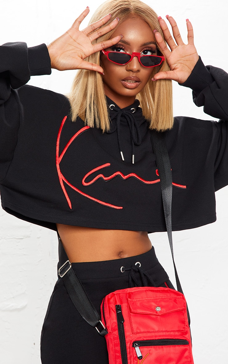 KARL KANI Black Embroidered Crop Hoodie