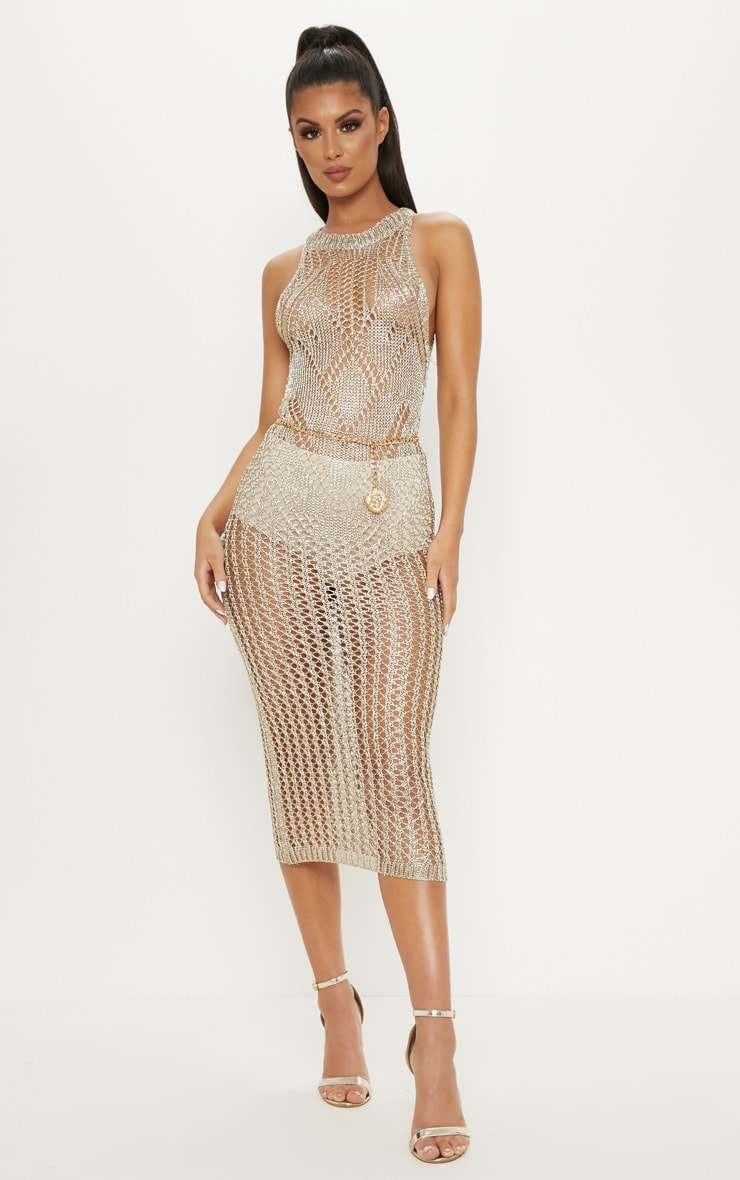 Gold Metallic Knitted Chain Detail Sleeveless Midi Dress