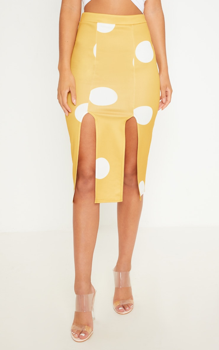 Mustard Double Split Polka Dot Midi Skirt 2