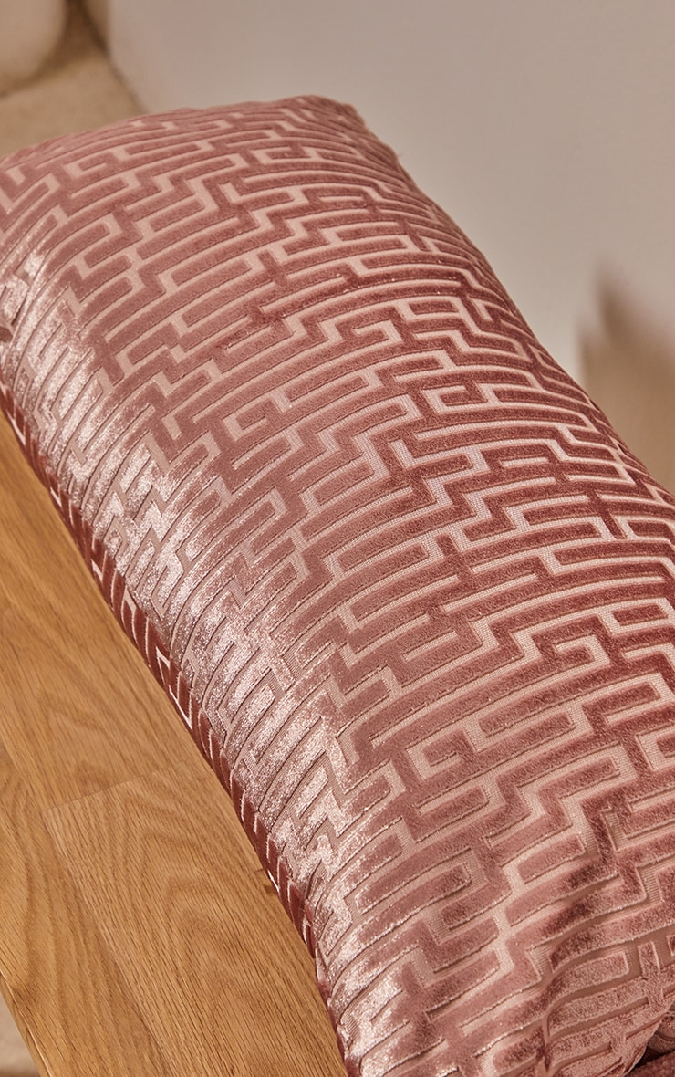 Dusty Pink Jacquard Velvet Rectangular Cushion 2